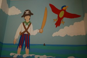 Close up of part of pirate mural