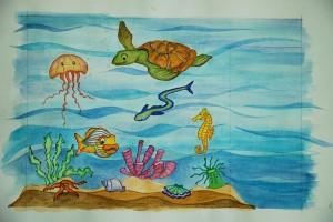 Sketch for underwater mural