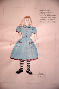 Alice in Wonderland & Through the Looking Glass costume sketch for Alice