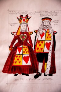 Alice in Wonderland & Through the Looking Glass costume sketch for King & Queen of Hearts